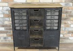 Industrial style cabinet with several drawers and cupboards for storage. Made with inspiration from late to early century cabinets. Made from metal with wood top. Shop our full collection of Storage here at Vinterior Industrial Filing Cabinets, Metal Storage Cabinets, Metal Drawers, Cupboard Storage, Cupboards, Metal Bins, Vintage Industrial Furniture, Retro Furniture, Industrial Style