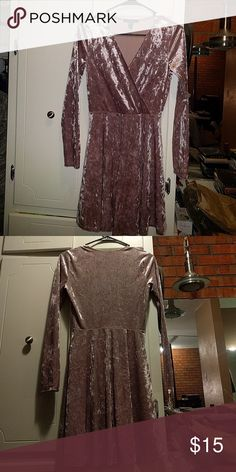 Pink Velvet dress Never worn. Beautiful for formal occasions: weddings, proms, etc. Comfortable and perfect colour. Forever 21 Dresses Long Sleeve