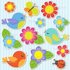 Vector flores, pássaros, borboleta e joaninha