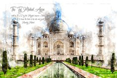 Agra, Taj Mahal, Van, Canvas, Travel, Products, Indian, Wall Canvas, Watercolour