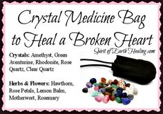 Crystal Medicine Bag to Help Heal a Broken Heart - - Amethyst, Green Aventurine… Crystal Magic, Crystal Beads, Crystal Healing, Crystal Palace, Crystals And Gemstones, Stones And Crystals, Healing A Broken Heart, Medicine Bag, Lemon Balm