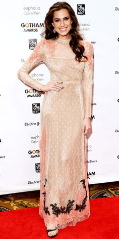 NOVEMBER 27, 2012 Allison Williams WHAT SHE WORE Williams walked the red carpet at the Gotham Independent Film Awards in a floor-sweeping pastel lace gown by Valentino.