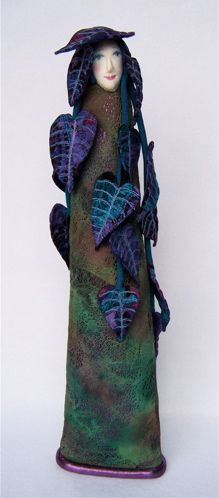 Jennifer Gould wonderful sculpted ceramic and textile art doll