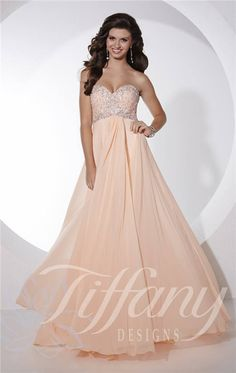 Long Beaded Strapless Tiffany 16087 Prom Dresses 2015 Sale