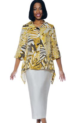 DS50172 - $109  #GoldMulti Wide Wing Collared Double Horned Buttoned Handkerchief Top, 2pc #Knit #DevineSportSuit