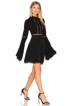 For Love & Lemons Willow Bell Sleeve Dress in Black   REVOLVE