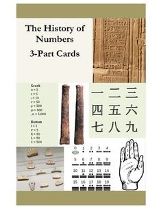 "History of Numbers 3-Part Cards. This 3-part card set (picture, label, paragraph) supports The Story (or History) of Numbers. Included are: 12 pictures illustrating the development of numbers from prehistory to the 15th century; 12 corresponding labels; 12 corresponding ""stories"" or explanatory paragraphs, written for the elementary child."