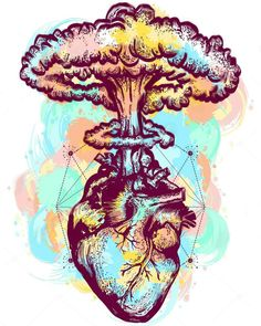 Nuclear explosion of anatomical heart color tattoo and t-shirt. Vector - Nuclear explosion of anatomical heart color tattoo and t-shirt design surreal graphic. Heart and nuclear explosion tattoo art. Symbol of love, feelings, energy, water color splashes Art And Illustration, Medical Illustration, Inspiration Art, Art Inspo, Art Sketches, Art Drawings, Drawing Art, Art Amour, Kunst Tattoos