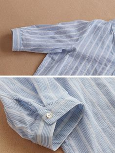 Casual Shirt Look, Casual Shirts, Tunic Blouse, Shirt Blouses, Half Sleeves, Types Of Sleeves, Cheap Shirts, Loose Tops, Striped Linen