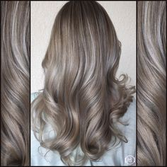 Silver Ash Blonde, Ash Hilites , Soft lights, wavy hair hair by: Emilio V. @ HairLegacy