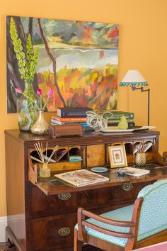 Bright orange warm toned home office