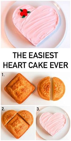 Start with the easiest-ever, no-carving required heart cake. Then try Erin Gardner's decorating ideas to make it your own. Start with the easiest-ever, no-carving required heart cake. Then try Erin Gardner's decorating ideas to make it your own. Baking Recipes, Cake Recipes, Dessert Recipes, Baking Hacks, Baking Ideas, Just Desserts, Delicious Desserts, Heart Cake Design, Heart Cakes