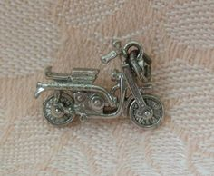 Vintage WELLS MOVABLE MOTORCYCLE Sterling Silver Charm Vintage Charm Bracelet, Charm Bracelets, Silver Charms, Wells, Boards, Charmed, Motorcycle, Sterling Silver, Bangles