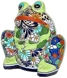 These adorable Talavera frog planters feature wonderfully intricate floral patterns that will look great with your plants, indoors or out!  The ceramic of these Talavera planters is hand-painted in Dolores Hidalgo, Mexico, and embodies all the classic charm of Mexican Talavera.  All Talavera planters also feature a convenient drain hole.  Let the bright colors and your plants breathe life back into your home decor!