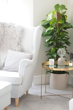 I bought a Home! xo Ikea Grey Chair, Gold Side Table,
