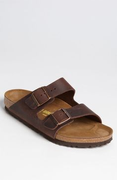 New Birkenstock Arizona Brown Leather Slip On Buckle Flip Flop Sandals 10 EU 43 #Birkenstock #FlipFlops