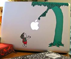The Giving Tree MacBook Sticker. Makeover your plain Apple laptop with an iconic scene from your childhood as you adhere The Giving Tree Macbook sticker. This nostalgic sticker displays top quality graphics and creatively re-purposes the famous Apple logo to fit into the classic story's plot.
