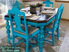Thrifty turquoise dining table redo  before and after  easy DIY that  changes the whole kitchen  Like the concept of a  pow  of colour  find so thrifty turquoise dining table redo  before and after  easy DIY  . Teal Painted Kitchen Table. Home Design Ideas