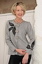 Orla by Tivoli grey semi fitted jacket with black felted design.7989g