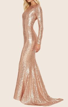 40 Luxurious and Sexy Prom Dresses for Beautiful Ladies Rose Gold Sequin Dress, Long Sequin Dress, Dress Long, Gold Long Sleeve Dress, Beautiful Evening Gowns, Beautiful Dresses, Long Sleeve Evening Gowns, Evening Dresses, Gold Prom Dresses