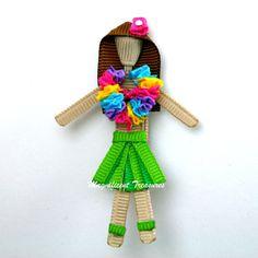 Hula Girl Ribbon Sculpture Hair Clip or Pin. $6.00, via Etsy.