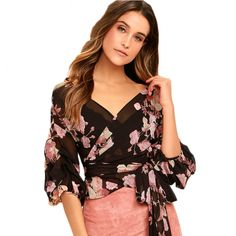 Fashion Lantern Sleeve chiffon shirt women tops Summer v neck bow tie Floral Print blouse femme ete 2017 Sexy beach ladies tops Chiffon Floral, Tie Blouse, Shirt Blouses, T Shirt, Wrap Blouse, Chemises Sexy, Floral Tops, Dresses For Less, Sexy Shirts