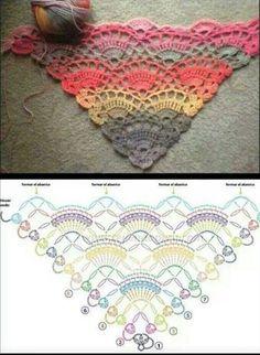 free crochet shawl pattern in Ravelry. Fingering wt yarn and H hook. Poncho Au Crochet, Beau Crochet, Crochet Diy, Crochet Shawls And Wraps, Crochet Motifs, Crochet Diagram, Crochet Stitches Patterns, Crochet Chart, Love Crochet