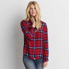 AE Ahh-mazingly Soft Boyfriend Shirt ($45) ❤ liked on Polyvore featuring tops, red, bell sleeve shirt, boyfriend shirt, tartan flannel shirt, plaid button-down shirts and red plaid shirt