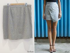 before & after: DIY asymmetric hem mini skirt