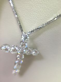 "Diamond cross pendant on 16"" chain. 1.10cts of diamonds. $1800 #YadavDiamonds"