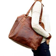 Large Brown Leather Handbag Tote, Leather Shoulder Bag, Leather Bag, Leather Purse, by The Leather Store Brown Leather Handbags, Leather Purses, Leather Bags, Leather Crossbody, Crossbody Bag, Leather Store, Chelsea, Everyday Bag, Shopper Tote