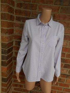J CREW Shrunken Shirt Size 6 In Dot Oxford Style 26728 Pocket Top Long Sleeve #JCrew #ButtonDownShirt #Casual