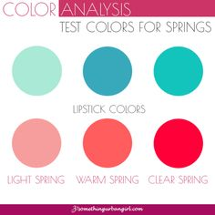 Test colors for Spring seasonal color women to find your possible seasonal color palette