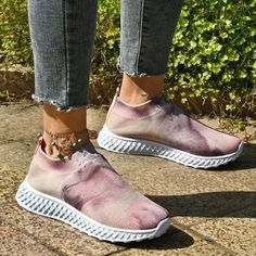 2021 Autumn Women's Shoes New Colorful Ladies Stretch Fabric Slip On Comfortable Flats Home Outdoor Female Walking Loafers Wedge Heel Sneakers, Sneaker Heels, Casual Sneakers, Casual Shoes, Sneaker Outfits Women, Comfortable Sandals, Loafers For Women, Types Of Shoes, Shoe Brands