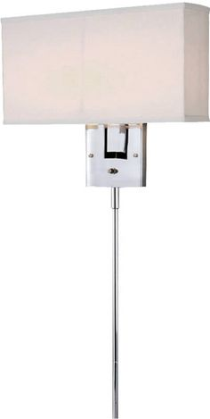Plug-In Wall Lights | LampsUSA PLUG IN wall sconce  from Lite Source, with its Chrome finish and White Fabric shade