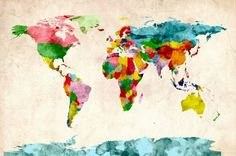 Michael Tompsett 'Watercolor World Map' Canvas Art - Overstock™ Shopping - Top Rated Trademark Fine Art Canvas Watercolor World Map, Watercolor Canvas, World Map Art, World Map Canvas, Canvas Wall Art, Canvas Prints, Big Canvas, Canvas Size, Painting Prints