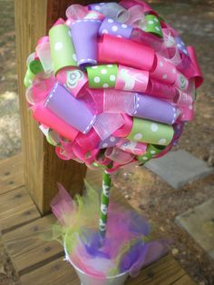 Ribbon Topiary in Pink, Purple, Green Centerpiece/Decoration Shower/Party Perfect for My Little Pony: Medium Size $30