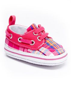 Look what I found on #zulily! Fuchsia Plaid Leppy Boat Shoe by Blue Suede Shoes #zulilyfinds