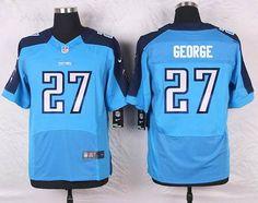 Tennessee Titans #27 Eddie George Elite Light Blue Team Color NFL Jersey