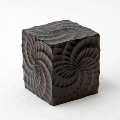 Cube box with snug-fitting lid made from African Blackwood and decorated on the ornamental lathe.