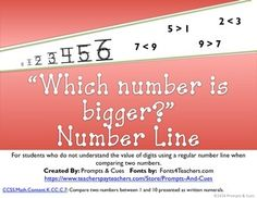 An increasing number line made for students who do not understand the value of digits. This number line can be helpful when students are comparing numbers. Special Education Teacher, Teacher Pay Teachers, Comparing Numbers, Math Intervention, Prompts, Big, Students, Number Lines