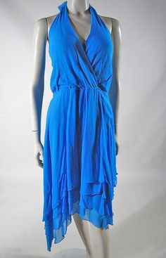 1970's Azure Blue Halter Style Tango Dress from thevintagegenie on Ruby Lane