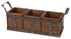 Casual outdoor dining is elevated to elegance with our portable silverware caddy. Three removable boxes made of reclaimed wood from the beams of century buildings snugly sit in a weathered metal frame. Hand crafted by artisans in Hungary, this utensi Silverware Caddy, Utensil Caddy, Utensil Holder, Iron Furniture, Home Furniture, Rustic Irons, European Home Decor, Wood Planters, Wood Pieces
