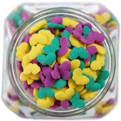 Butterfly Sprinkles from Layer Cake Shop!  #spring #butterflies #quins #yellow #teal #purple #easter #cupcake #cookies #cake #decorations