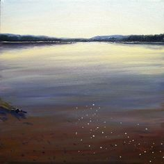 """Soft Light on the Lake by artist Takeyce Walter Oil - 12x12"""" Framed size 18x18"""""""