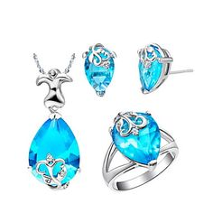 18K Cute Plated With Crystal Women's Including Pendant Earrings Rings