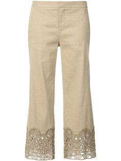 KOBI HALPERIN Decorative Hem Cropped Trousers. #kobihalperin #cloth #trousers