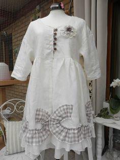 NANACREA beau manteau en lin blanc et coton vichy