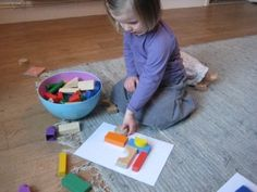 diy block matching puzzle- trace and color blocks and have kids match blocks to picture