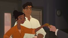 """Screencaps of Tiana & Prince Naveen from the 2009 Disney animated film """"The Princess and the Frog."""" Description from fanpop.com. I searched for this on bing.com/images"""